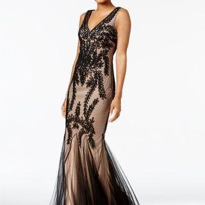 Betsy & Adam Soutache Godet Gown Black/Nude Size 8